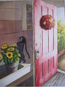 Shed Paintings - The Red Door by Carole E Raymond