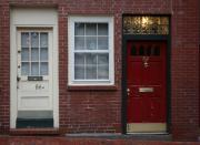 Red Doors Prints - The Red Doors of Boston 1 Print by Julie Lueders