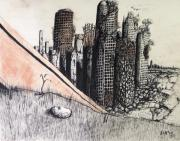 Streets Drawings Originals - The red dust billows forth by Levi Rosen