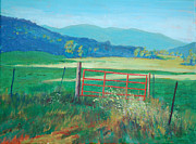 North Fork Painting Framed Prints - The Red Gate Framed Print by David Carson Taylor