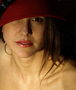 Portraits Photos - The Red Hat by Steven  Digman