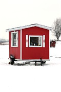 Decor Photography Originals - The Red Ice Fishing Cabin by Sophie Vigneault