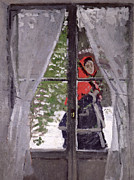 Windows Paintings - The Red Kerchief by Claude Monet