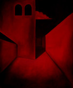 Convolution Painting Prints - The Red Maze Print by Dave Sherwood-Adcock