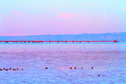 Minimal Landscape Digital Art - The Red Pier . 7D12310 by Wingsdomain Art and Photography