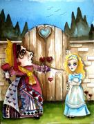 Alice In Wonderland Painting Metal Prints - The Red Queen Metal Print by Lucia Stewart
