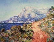 Deep Blue Posters - The Red Road near Menton Poster by Claude Monet