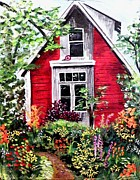 Shed Painting Posters - The Red Shed Poster by Maureen Marie Sundstrom