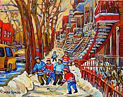 Kids Playing Hockey Prints - The Red Staircase Painting By Montreal Streetscene Artist Carole Spandau Print by Carole Spandau