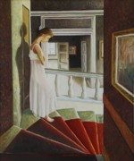 Stairs Painting Posters - The Red Stairs Poster by Santo De Vita