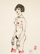 Schiele Drawings - The Red Stockings by Pg Reproductions