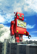 Funny Digital Art Framed Prints - The Red Tin Robot and the City Framed Print by Luca Oleastri