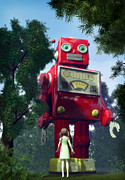 Business-travel Digital Art Prints - The Red Tin Robot and the Little Girl Print by Luca Oleastri