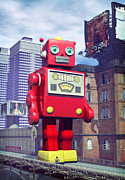 Red Buildings Digital Art Posters - The Red Tin Robot in China Poster by Luca Oleastri
