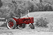 Tractor Photo Posters - The Red Tractor Poster by Aimelle