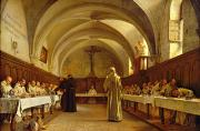 Prayer Metal Prints - The Refectory Metal Print by Theophile Gide
