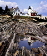 Pictures Of Lighthouses Photo Posters - The Reflection At Pemaquid Poster by Skip Willits