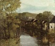 Reflecting Water Prints - The Reflection of Ornans Print by Gustave Courbet