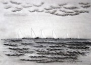Sailboats Drawings - The Regatta by J R Seymour