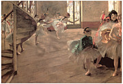 Ballet Dancers Painting Framed Prints - The Rehearsal Framed Print by Edgar Degas
