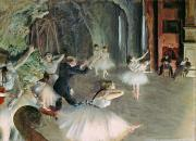 Tutu Painting Posters - The Rehearsal of the Ballet on Stage Poster by Edgar Degas