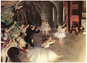 Ballet Dancers Painting Prints - The Rehearsal on the Stage Print by Edgar Degas