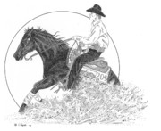 Rodeo Art Drawings - The Reiner by Lawrence Tripoli