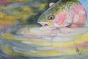 Cutthroat Trout Photo Prints - The Release Print by Gale Cochran-Smith