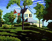 Family Farm Painting Prints - The Remodel Print by Charlie Spear
