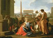 Holy Family Religious Prints - The Rest on the Flight into Egypt Print by Nicolas Poussin