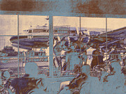 Klm Prints - The restaurant at Schiphol blue Print by Nop Briex
