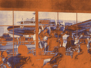 Klm Prints - The restaurant at Schiphol orange Print by Nop Briex