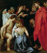 Female Christ Framed Prints - The Resurrection of Lazarus Framed Print by Rubens