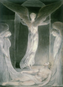 Rolling Away The Stone Drawings - The Resurrection by William Blake