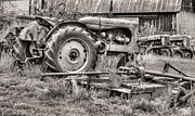 Antique Tractors Prints - The Retirement Home Black and White Print by JC Findley