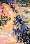Crowds Paintings - The Return by Bayo Iribhogbe