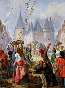 Medieval Entrance Prints - The Return of Saint Louis Blanche of Castille to Notre Dame Paris Print by Pierre Charles Marquis