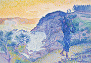 Rocky Cliff Posters - The Return of the Fisherman Poster by Henri-Edmond Cross