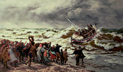 Storm Painting Posters - The Return of the Lifeboat Poster by Thomas Rose Miles