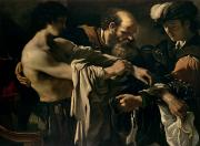 Biblical Framed Prints - The Return of the Prodigal Son Framed Print by Giovanni Francesco Barbieri