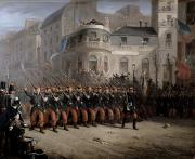 Historical Buildings Paintings - The Return of the Troops to Paris from the Crimea by Emmanuel Masse