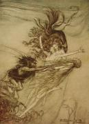 Extinct And Mythical Drawings Prints - The Rhinemaidens teasing Alberich Print by Arthur Rackham