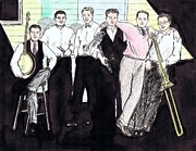 Trombone Drawings Posters - The Rhythm Jugglers Poster by Mel Thompson