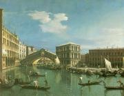 Venetian Architecture Paintings - The Rialto Bridge by Canaletto