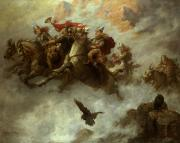 Flight Painting Framed Prints - The Ride of the Valkyries  Framed Print by William T Maud