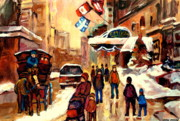 Winter Scenes Paintings - The Ritz Carlton Montreal Streetscene by Carole Spandau