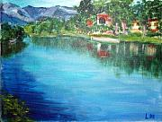 Shores Painting Originals - the river Adda by Lia  Marsman
