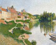 Pointillist Framed Prints - The River Bank Framed Print by Paul Signac