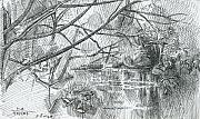 Moscow Drawings - The River Bitsa. 2007 by Yuri Yudaev