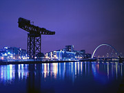 Glasgow Finnieston Crane Framed Prints - The River Clyde At Night. Framed Print by Amanda Finan